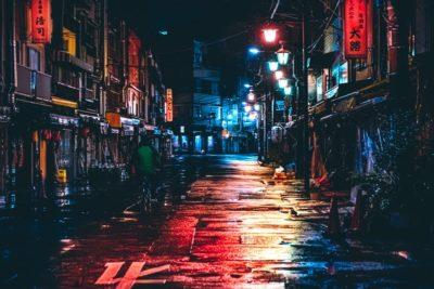 閑散とした街の素材